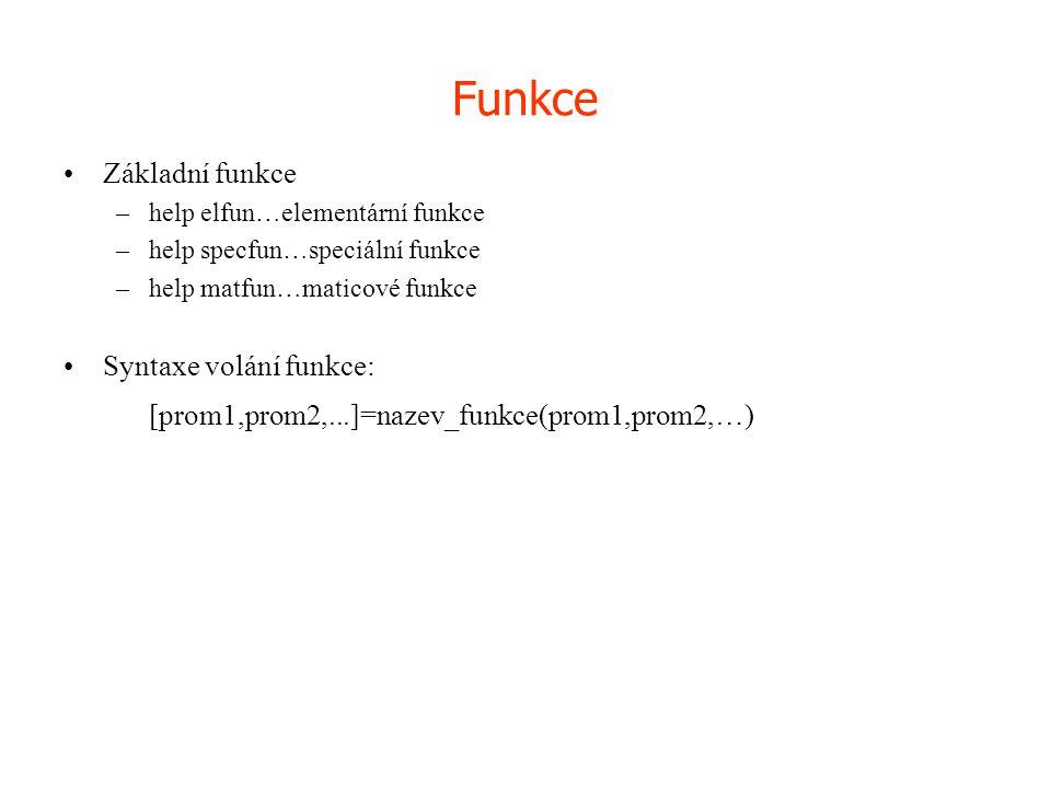 Funkce [prom1,prom2,...]=nazev_funkce(prom1,prom2,…) Základní funkce